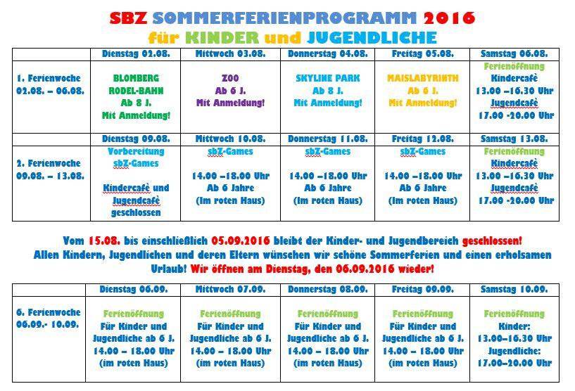 Ferienprogramm SBZ am Hart